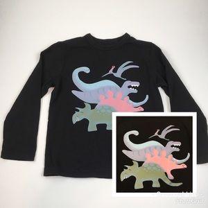 Gap Kids Black Long Sleeve Dinosaur T-Shirt